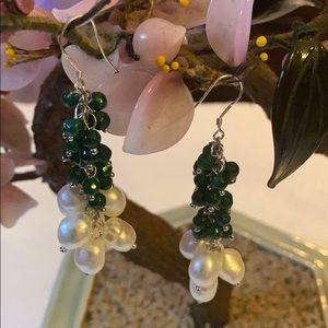Vintage 925 natural emerald freshwater pearl